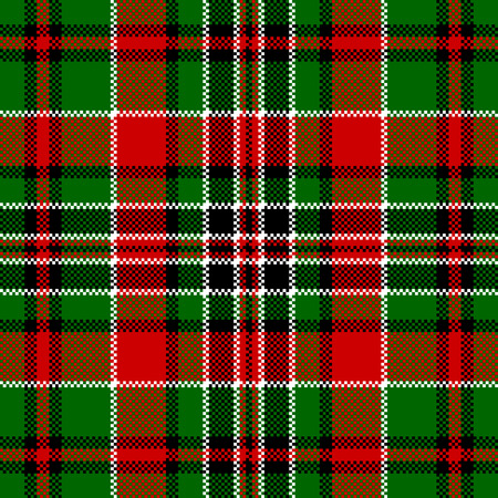 Green red check square pixel seamless pattern. Vector illustration.
