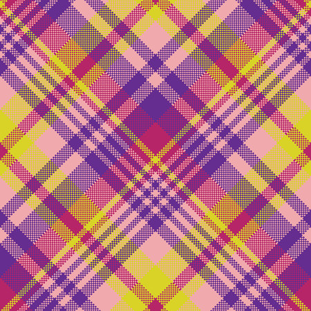 celtic background: Yellow pink check madras seamless fabric texture. Vector illustration.