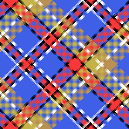 Blue madras diagonal fabric texture pixeled seamless pattern. Vector illustration.