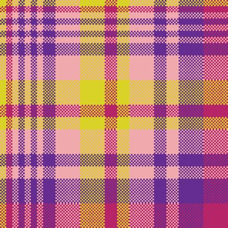 Gelb rosa check madras nahtlose Stoff Textur. Vektor-Illustration. Standard-Bild - 74996644