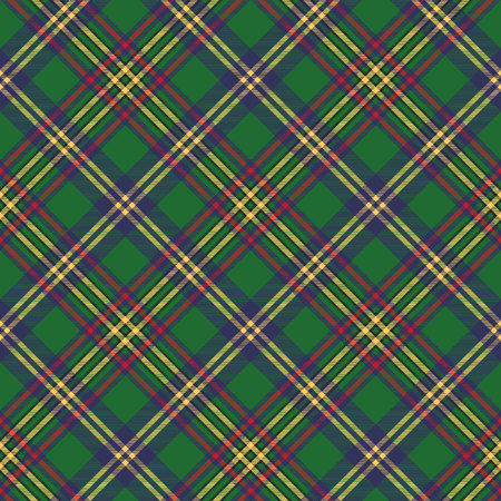 diagonal stripes: Green tartan classic seamless pattern. Vector illustration.