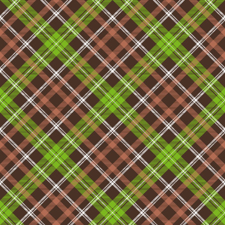 Brown green check plaid seamless pattern. Vector illustration.