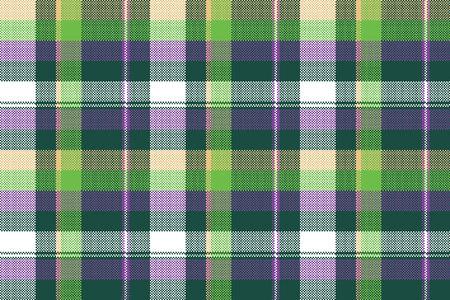 pattern: Green purple seamless pattern check fabric texture. Vector illustration.