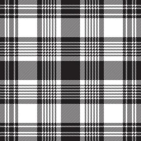 Black checkered plaid seamless pattern. Vector illustration.