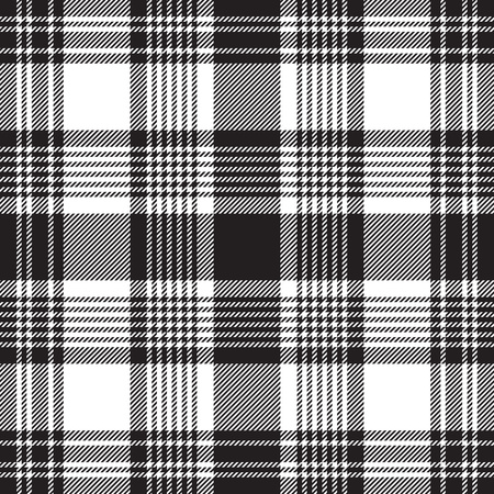 Black checkered plaid seamless pattern. Vector illustration.