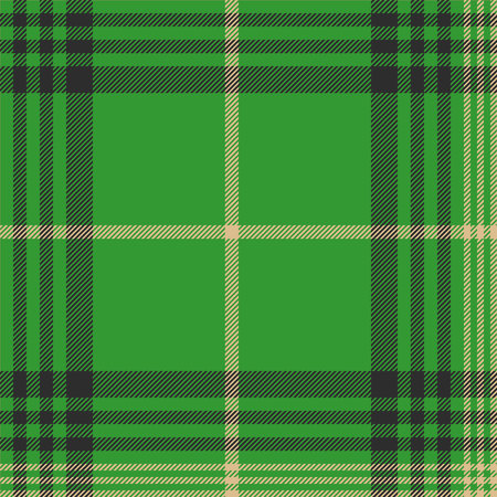english culture: Seamless plaid green tartan check fabric texture. Vector illustration. Illustration