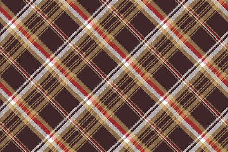 Check brown tartan seamless fabric texture. Vector illustration.