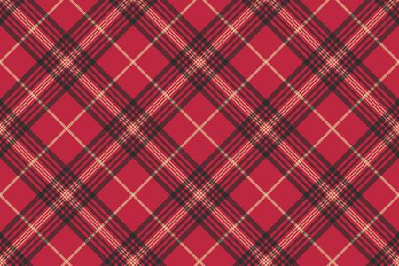 赤は、タータン チェック柄のシームレスなパターンを確認します。ベクトルの図。