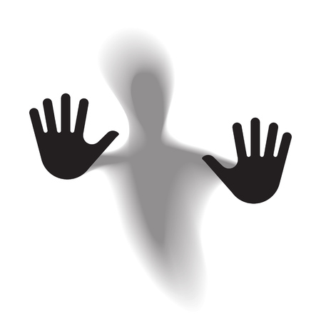 Diffused silhouette body through frosted glass. Vector illustration. Illustration
