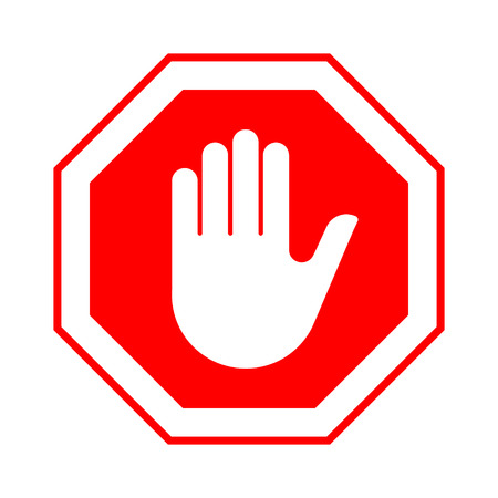 Stop do not enter stop red sign with hand. Vector illustration.