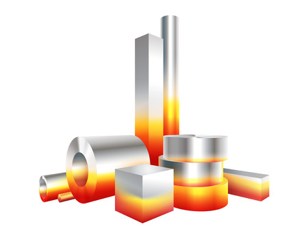 Group melt hot metal steel objects. Vector illustration.