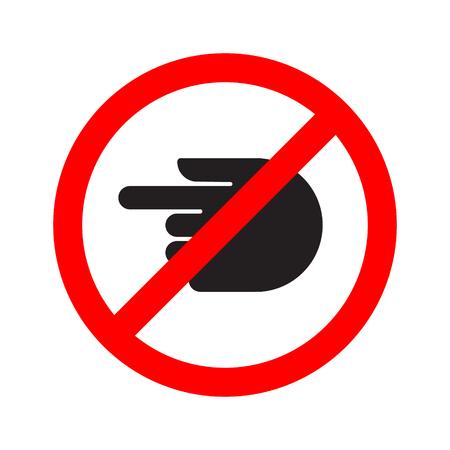 Turn forbidden sign hand. Vector illustration.