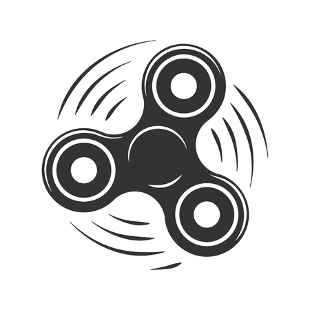 Silhouette symbol twisting rotating hand spinner. Vector illustration.