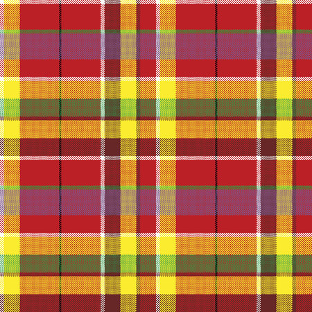 Summer seamless pattern madras check fabric texture. Vector illustration.