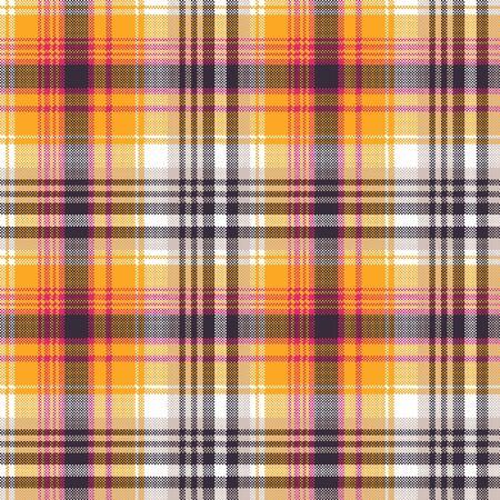 Orange white pixel seamless fabric texture. Vector illustration.