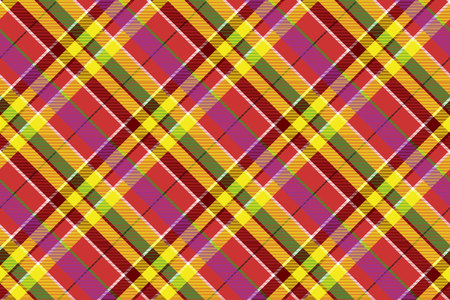 Madras colored plaid diagonal fabric texture seamless pattern. Vector illustration.