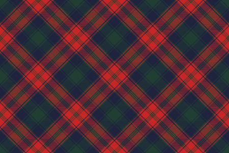 Diagonal fabric texture plaid seamless pattern. Vector illustration. Illustration