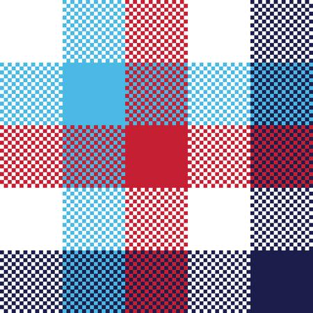 Check pixel plaid seamless pattern. Vector illustration. Illustration