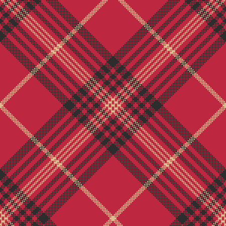Red check plaid tartan seamless pattern. Vector illustration.