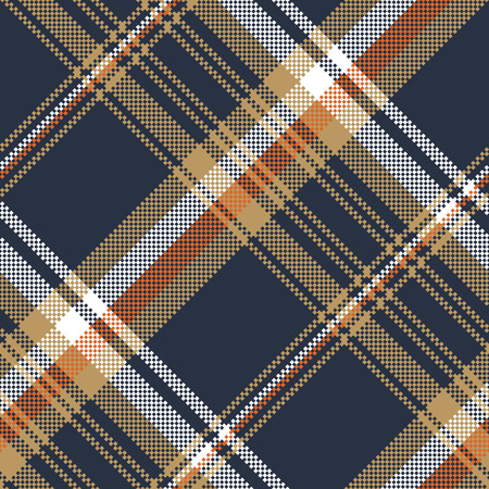 Blue check pixel fabric texture seamless pattern. Vector illustration. Ilustrace