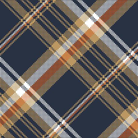 Blue check pixel fabric texture seamless pattern. Vector illustration. Illustration