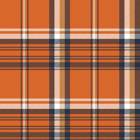 Orange check plaid seamless pattern. Vector illustration. 向量圖像