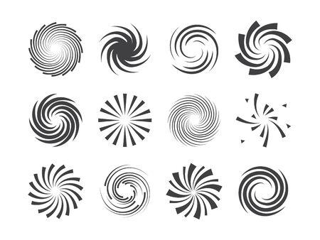 Espiral y movimiento del remolino girando círculos conjunto de elementos de diseño. Ejemplo del vector Ilustración de vector