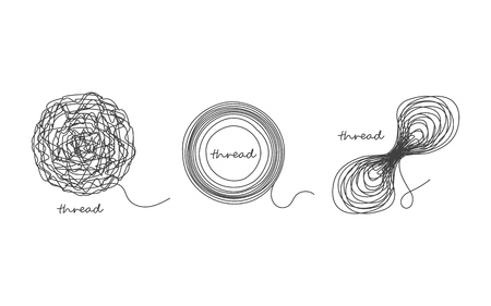 Thread ball and ravel icon set isolated on white. Vector illustration.