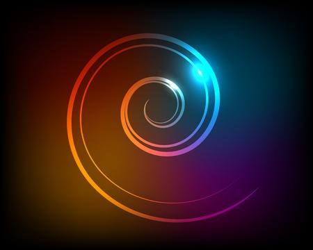 Abstract luminous spiral on a dark background. Vector illustration. Illustration