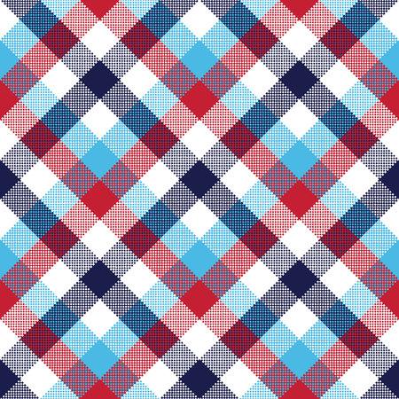Check pixel plaid seamless pattern vector illustration.  イラスト・ベクター素材