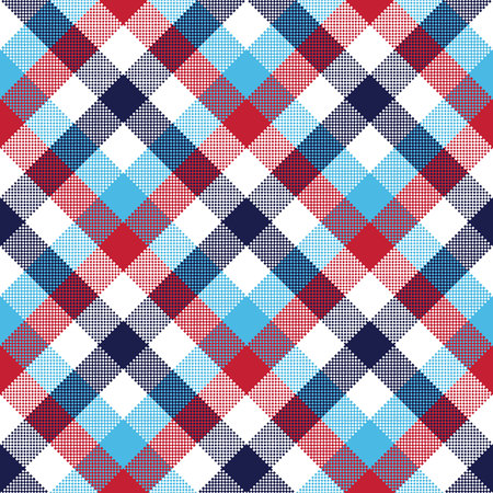 Check pixel plaid seamless pattern vector illustration. Stock Illustratie