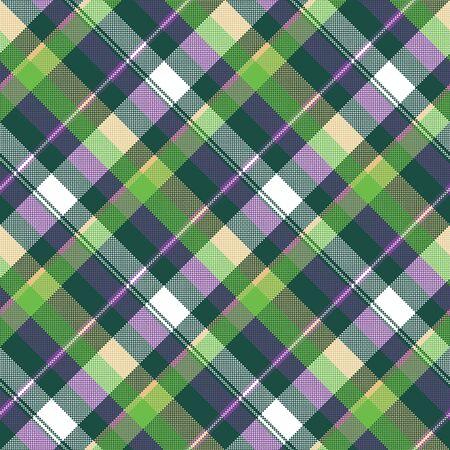 Green purple seamless pattern checks fabric texture vector illustration. Illustration