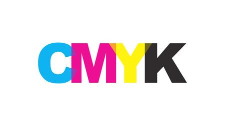 CMYK color text logo concept. Vector illustration. Illustration