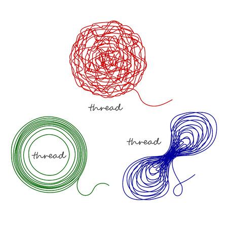 Set of thread ball and ravel logo element. Vector illustration.
