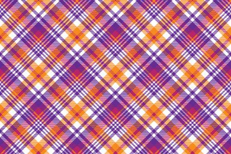 Pink orange plaid madras seamless pattern. Vector illustration. Ilustração