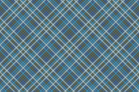 Blue check plaid fabric texture textile seamless pattern. Flat design. Vector illustration.