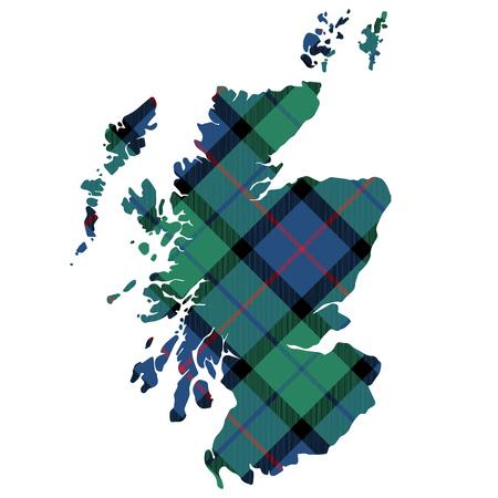 Scotland map texture of tartan plaid flat design. Vector illustration. Çizim