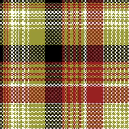Pixel plaid texture seamless pattern. Flat design. Vector illustration.  イラスト・ベクター素材