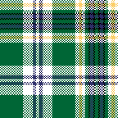 Green check tartan fabric texture seamless pattern. Vector illustration.