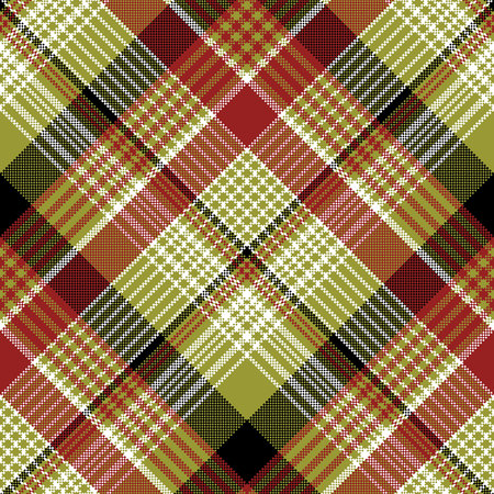 Pixel plaid texture seamless pattern. Flat design, vector illustration.