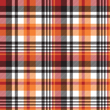 Orange plaid seamless fabric texture. Vector illustration.