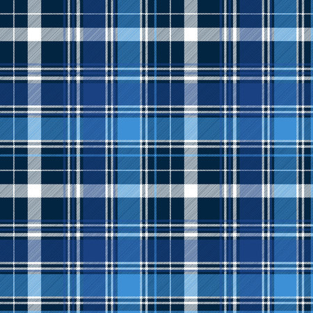 Blue abstract check textile seamless pattern. Vector illustration.