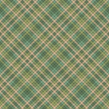 Green mosaic fabric texture plaid pattern design. Illustration