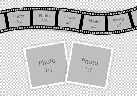 Romantische fotolijsten collage voor paarliefde. Vector illustratie.