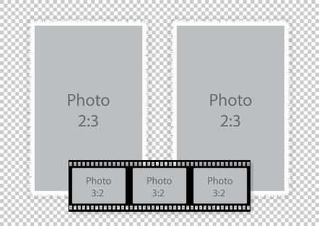 Filmstrip frames collage voor fotoalbum. Vector illustratie