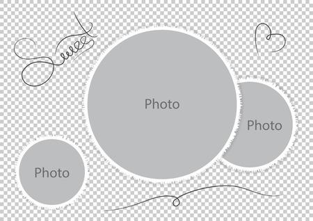 Zoete photoframes sjabloon trouwfoto. Vector illustratie. Stock Illustratie