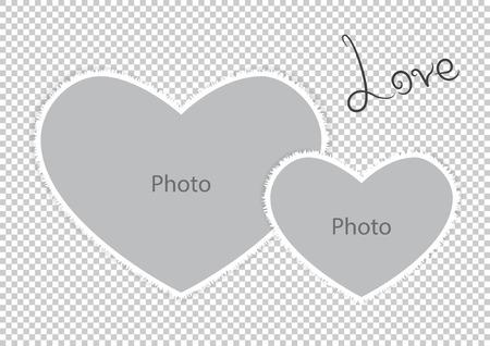 Romantische de vormharten van het fotokader van St Valentijnskaartendag. Vector illustratie.