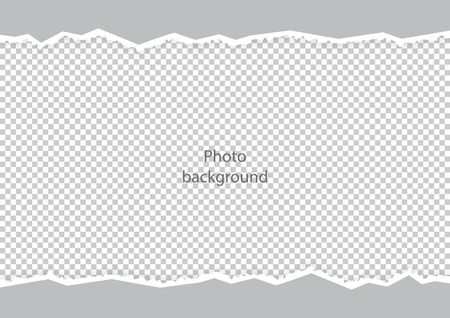 Ripped curves uneven edges texture of the photo frame template. Vector illustration.