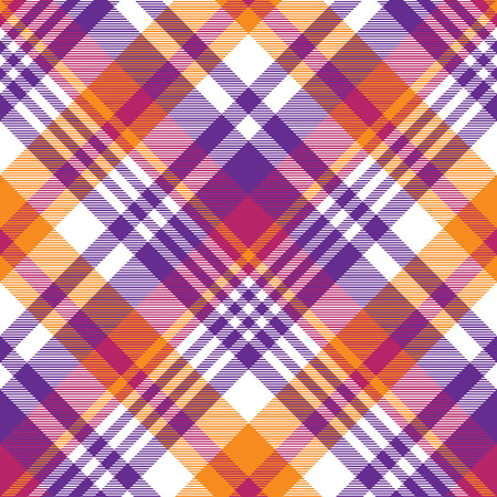 Pink orange plaid madras seamless pattern. Vector illustration. Illustration