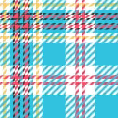 Turquoise plaid check fabric seamless pattern. Vector illustration.